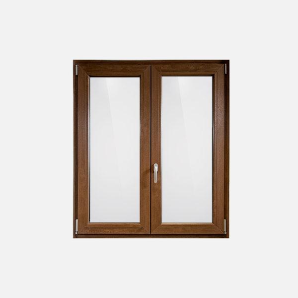 Finestra in pvc effetto legno scuro fabbroni serramenti for Serramenti pvc legno